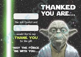 wars thank you cards yoda wars thank you cards kids children birthday pack of 10