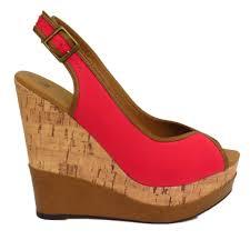 ladies navy black or coral peep toe platform cork wedge sandals