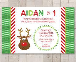 reindeer birthday party invitations holiday winter birthday