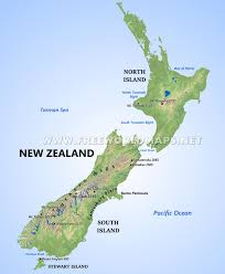 map world nz new zealand physical map