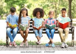 kids reading bench cute kids reading books on bench stock photo 470554487 shutterstock