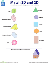 2d and 3d shapes worksheet education com