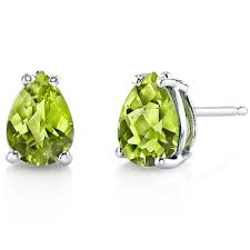 peridot stud earrings peridot earrings 14 karat white gold pear shape e18556 peora
