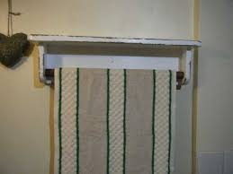 shabby chic kitchen bathroom display shelf with roller towel rail