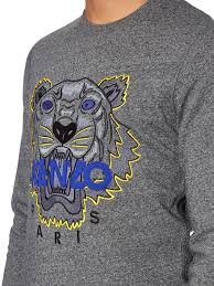 kenzo tiger embroidered jersey sweatshirt in gray for men lyst