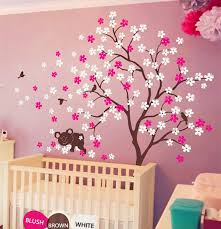 Pink And Brown Nursery Wall Decor Koala Lying Blooms Beneath Wall Sticker Baby Bedroom Wall