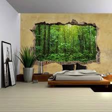 wall26 com art prints framed art canvas prints greeting wall26 tropical rain forest viewed through a broken wall large wall mural removable peel and stick wallpaper home decor 66x96 inches