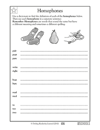 2nd grade 3rd grade reading writing worksheets homophones