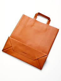 antiatoms leather shopping bag take apart a paper bag to create