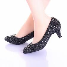 wedding shoes low heel pumps pointed toe rhinestone low heel black prom shoes wedding heels