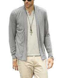 nidicus elastic mens shawl collar open cardigan lightweight