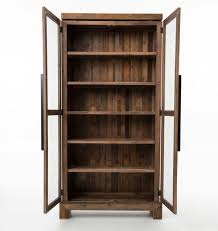 Wooden Bookcase With Doors Angora Reclaimed Wood Bookcase Curio Cabinet Zin Home