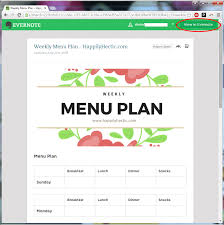 menu planning with evernote templates my happily hectic life
