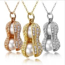 rose gold necklace fashion images Fashionable double pearl peanut pendant necklaces buycoolprice jpg