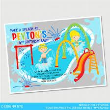 splash pad spray park birthday invitation or thank you card