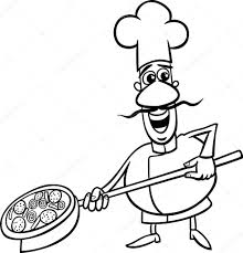 italian cook cartoon coloring page u2014 stock vector izakowski
