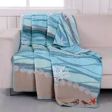 Ocean Bedspread Blue Tan Coastal Beach Bedding Twin Full Queen King Cotton