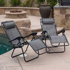 belleze 2 pack zero gravity chairs patio lounge cup holder
