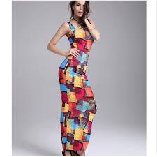 modele de robe de bureau mode été serré robe longue femme motifs géométriques imprimé