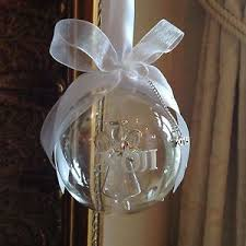 Personalised Baby S First Christmas Tree Bauble by Personalised Glass Christmas Tree Bauble Angel Inside Baby 1st