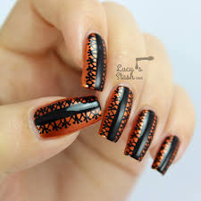 halloween style black lace nail art design lucy u0027s stash