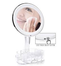 lighted vanity mirror 10x with cosmetic organizer u0026 dimmer aryoli