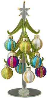 the aisle green glass tree with ornaments