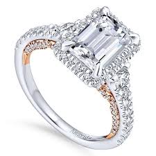 emerald cut rings images 18k white rose gold emerald cut halo diamond engagement ring jpg