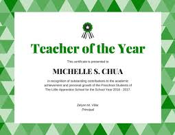 teacher of the year award certificate templates by canva