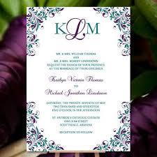 kaitlyn wedding invitation peacock purple teal wedding template shop