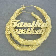 name hoop earrings 10k gold personalized name bamboo hoop earrings 3 inch
