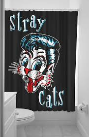 stray cats logo black shower curtain modern grease clothing and