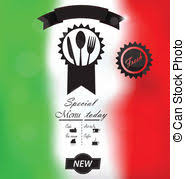 italian menu template over a flag of italy vector illustration
