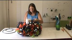 how to make a halloween wreath with mesh ribbon trendy tree halloween centerpiece tutorial youtube
