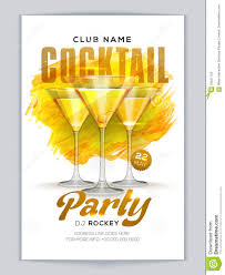 cocktail party flyer template or banner design stock