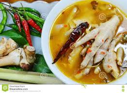 chicken feet with tamarind leaf spicy tom yam and mixed ingredient