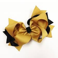 black and gold ribbon x 6 gold and black ribbon hair bow