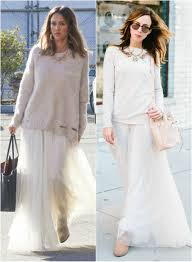 White Tulle Maxi Skirt Jessica Alba U0027s Tulle Maxi Skirt Celebrity Fashion