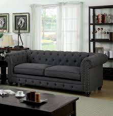 Grey Fabric Chesterfield Sofa by Furniture Of America Cm6269gy Sf Stanford Traditional Gray Fabric