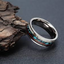 vintage titanium rings images Vintage 8mm titanium ring with deer antler wood inlay dragon sam jpg