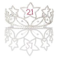 21st birthday tiara and sash bundle set of accessories 21 silver