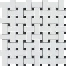 thassos white honed marble basketweave mosaic tile w black dots