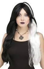 grey streaks in hair adult halloween silver streaks long hair witch wig one size ebay