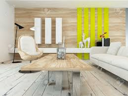 yellow wood coffee table rustic decor in a modern living room with a wood wall with yellow