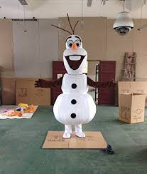 Mascot Costumes Halloween Olaf Snowman Mascot Costume Cospaly Cartoon Character Size