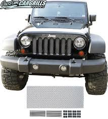 jeep wrangler front grill 2007 16 jeep wrangler jk mesh grill insert kit by customcargrills