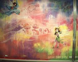 murals sillier than sally fine art and design sillier than sally colourful fairyland nursery wall mural pink fairies fairy village