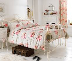 shabby chic beach bedroom orange floral pattern concealed wall bed