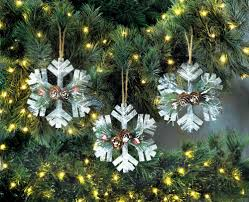 rustic snowflake ornament trio wholesale at koehler home decor