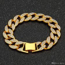 gold chain bracelet with charm images Hip hop 18k gold chain bracelet designs for woman full rhinestone jpg